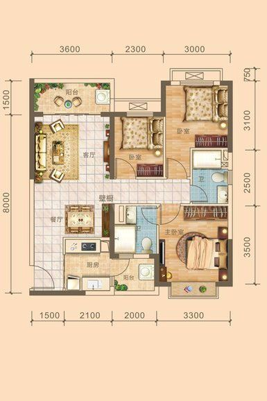 8#9#01户型居室: 3室2厅2卫1厨 建筑面积:100.14㎡