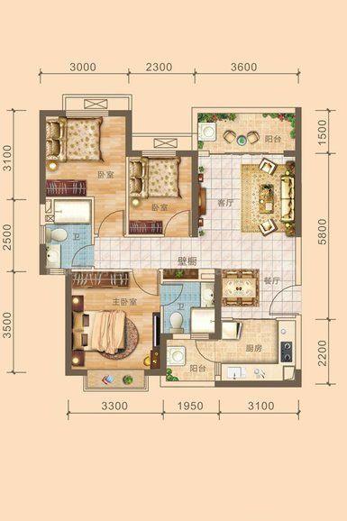 8#9#04户型居室: 3室2厅2卫1厨 建筑面积:95.39㎡