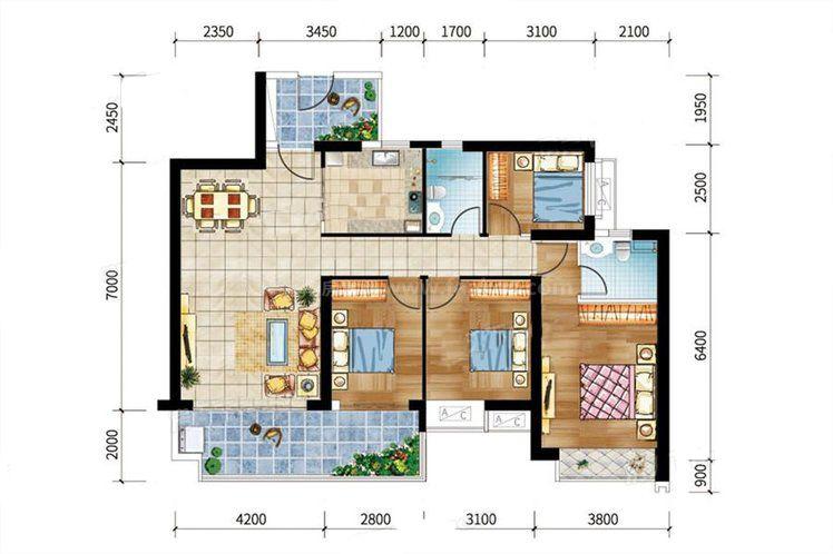 9#-01户型 4室2厅2卫1厨 建筑面积:131.80㎡