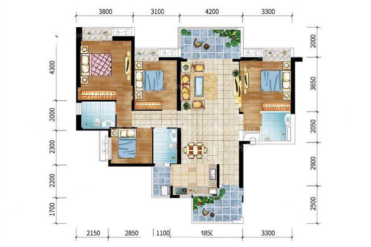 9#-03户型 4室2厅3卫1厨 建筑面积:134.49㎡