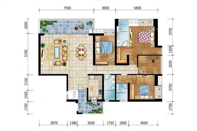 9#-05户型 4室2厅3卫1厨 建筑面积:180.13㎡