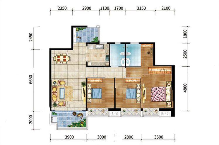 8#-01户型 3室2厅2卫1厨 建筑面积:117.00㎡
