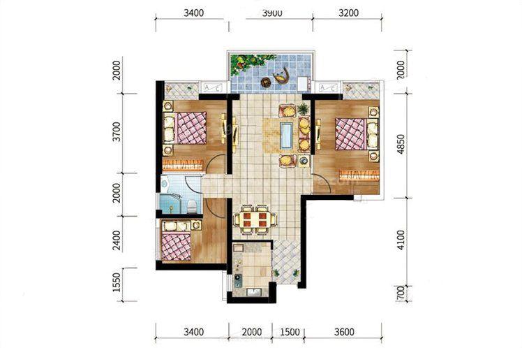 8#-03户型 3室2厅1卫1厨 建筑面积:97.74㎡