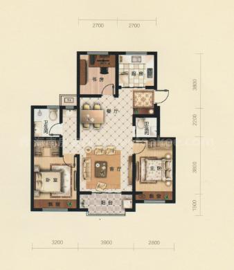 A2居室: 3室2厅2卫1厨 建筑面积:103㎡