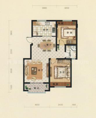A1-A3居室: 2室2厅1卫1厨 建筑面积:92㎡