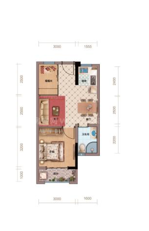 户型图居室: 1室2厅1卫1厨 建筑面积:63㎡