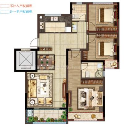 G7户型 3室2厅2卫1厨 建筑面积:95㎡