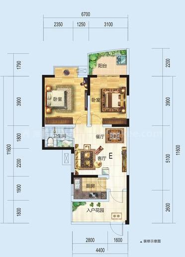 1#F户型居室: 3室2厅2卫1厨 建筑面积:112.13㎡