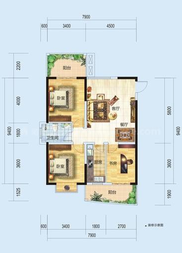 1#G户型居室: 3室2厅2卫1厨 建筑面积:107.62㎡