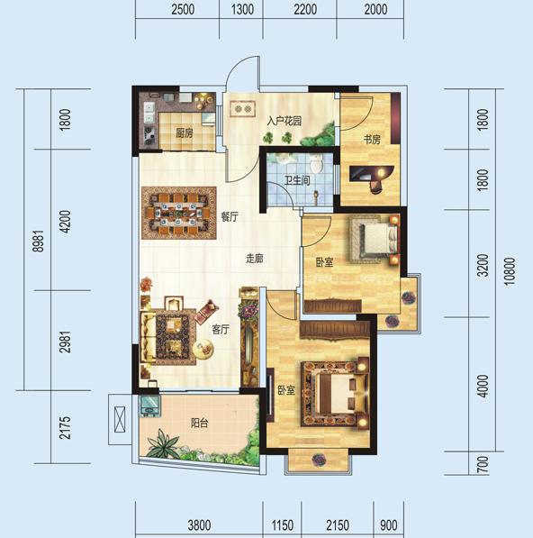 1#H户型居室: 3室2厅1卫1厨 建筑面积:84㎡