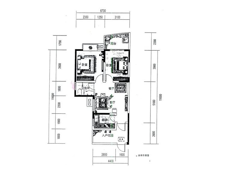 3#01、02户型居室: 2室2厅1卫1厨 建筑面积:83.29㎡