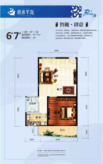 6#户型居室: 1室1厅1卫1厨 建筑面积:55.72㎡