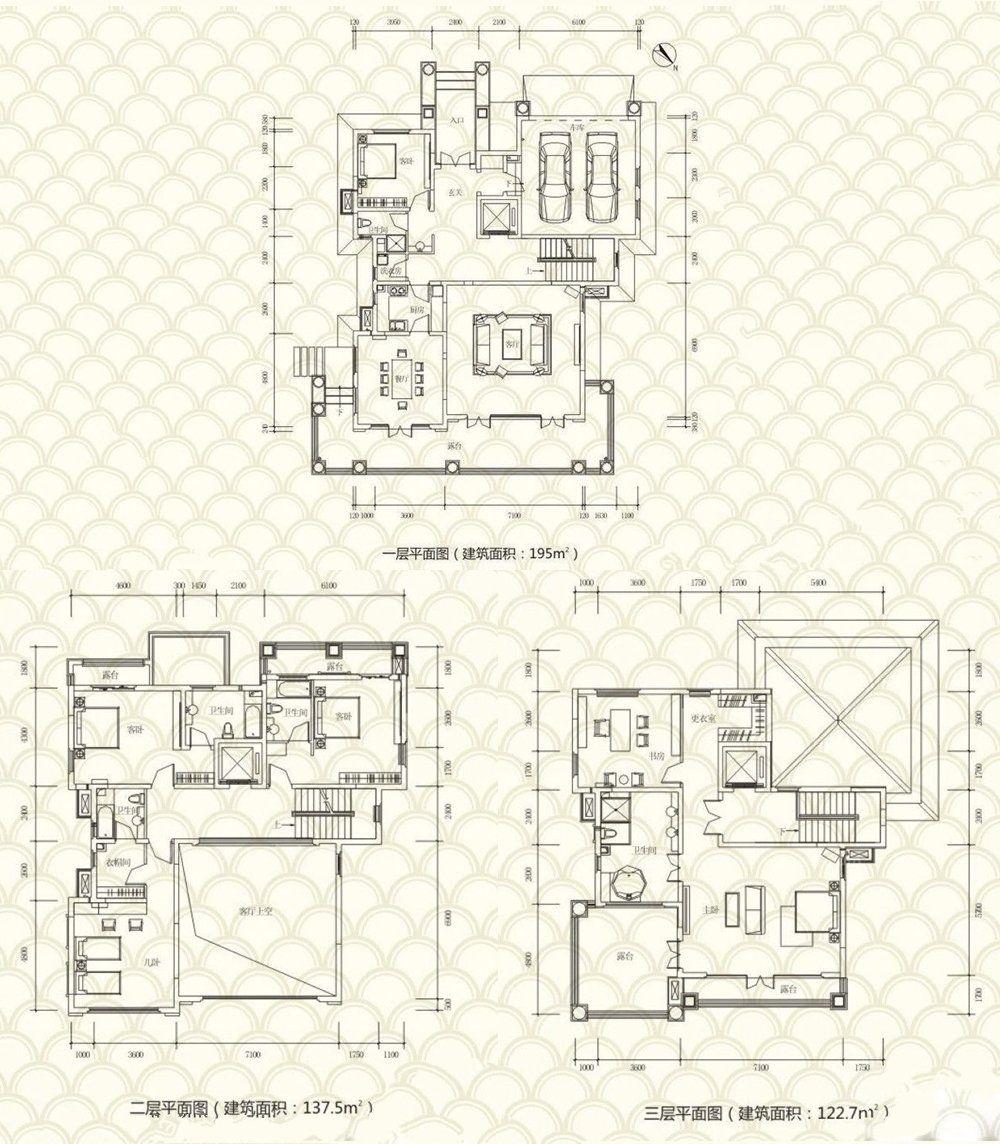 独栋别墅A户型 5房3厅4卫 建面:455.2㎡