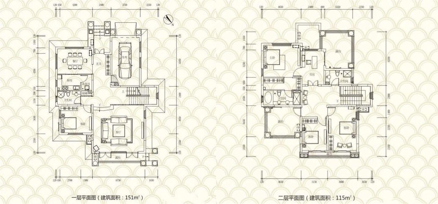 独栋别墅C户型 4房2厅3卫 建面:266㎡