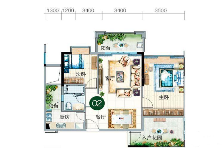 碧云轩02户型 2室2厅1卫1厨 建筑面积:83.00㎡