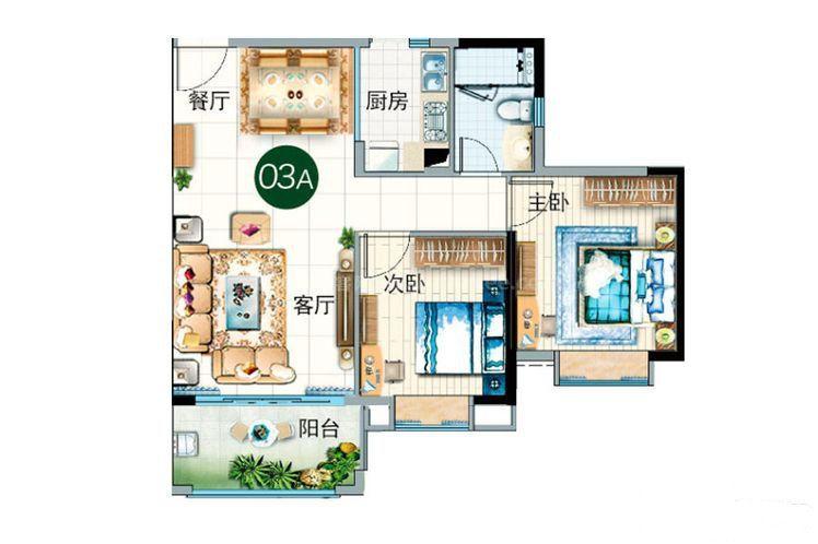 碧云轩03A户型 2室2厅1卫1厨 建筑面积:83.00㎡