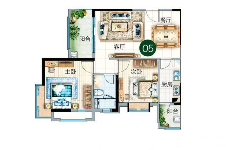 碧云轩05户型 2室2厅1卫1厨 建筑面积:83.00㎡