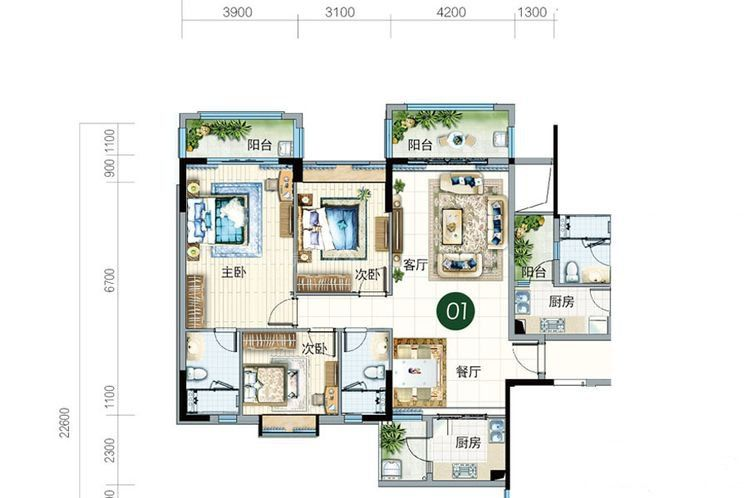 碧云轩01户型 3室2厅2卫2厨 建筑面积:129.00㎡