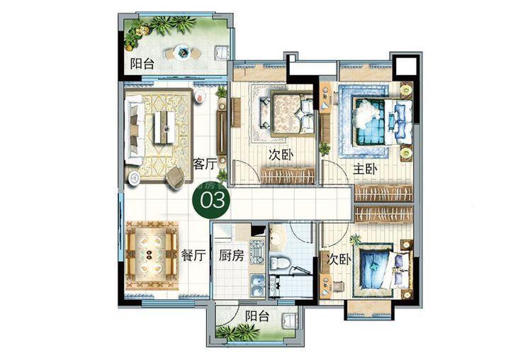 碧云轩03户型 3室2厅1卫1厨 建筑面积:104.00㎡
