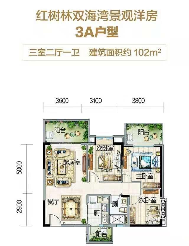 云海湾 12-13#3A户型 3室2厅1卫 建面:102㎡