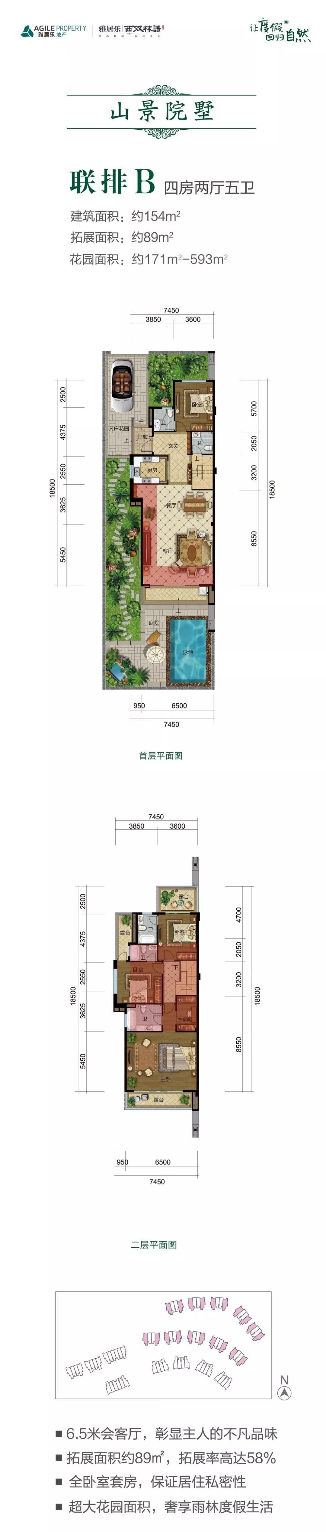 联排B户型 4室2厅5卫 建筑面积:154㎡