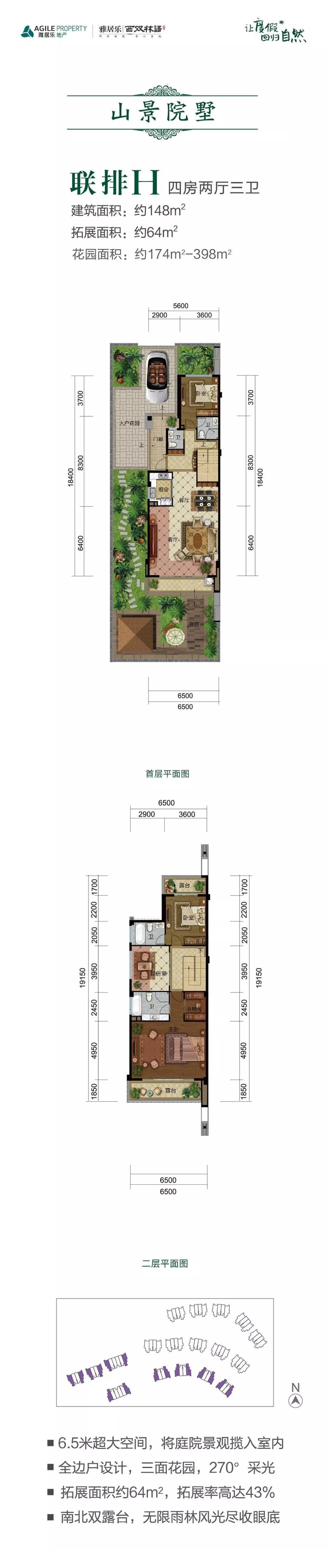 联排H户型 4室2厅3卫 建筑面积:148㎡