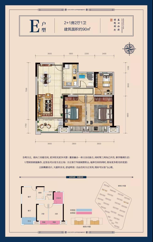 E户型 2+1室2厅1卫 建面90㎡