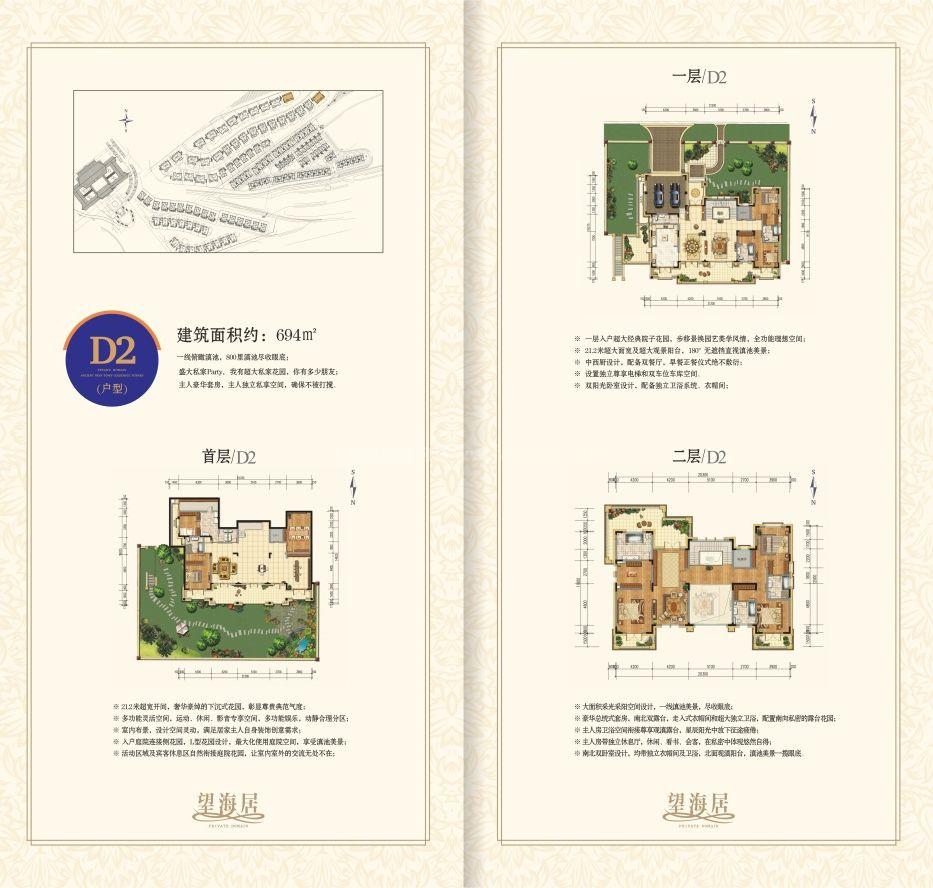 望海居D2户型 5房2厅1厨8卫 建面694㎡