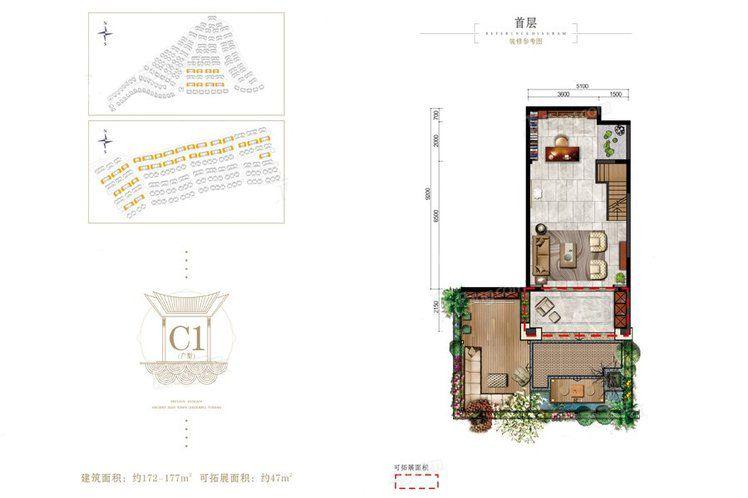 山水小别墅C1户型 3室2厅3卫1厨 建筑面积:172.00㎡ 首层