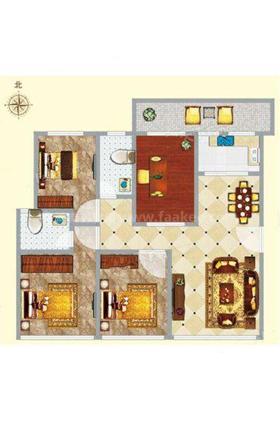 1#1-2单元01-02户型 4室1厅2卫1厨 建筑面积:117.41㎡