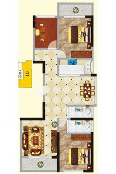 2#1单元01-02户型 3室2厅2卫1厨 建筑面积:120.24㎡