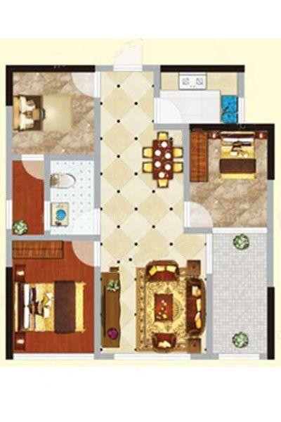 2#2单元01户型 3室2厅1卫1厨 建筑面积:80.04㎡