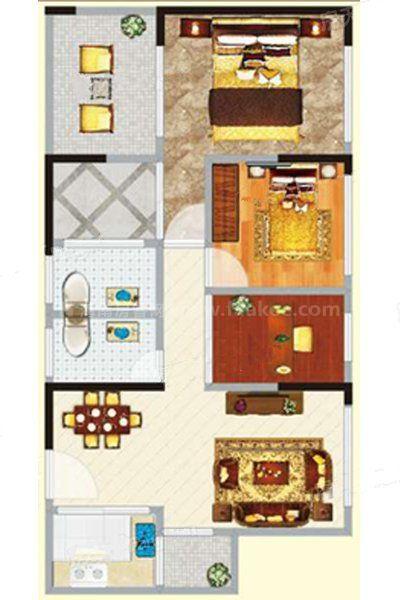 2#2单元05户型 3室2厅2卫1厨 建筑面积:111.76㎡
