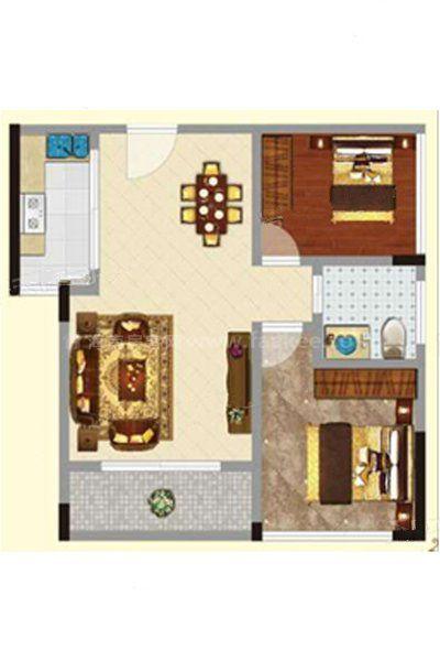 2#2单元02户型 2室2厅1卫1厨 建筑面积:64.41㎡