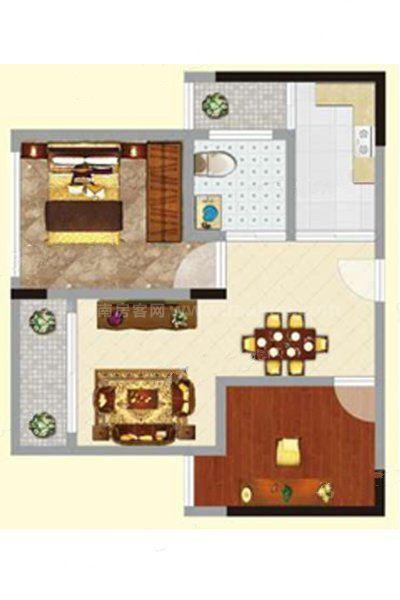 2#2单元03户型 2室2厅1卫1厨 建筑面积:56.27㎡