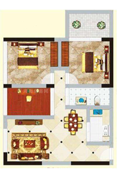 2#2单元04户型 2室1厅1卫1厨 建筑面积:92.84㎡