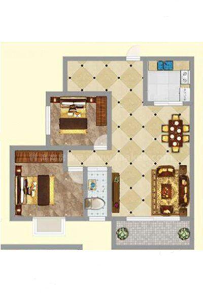3#1单元03-04户型 2室2厅1卫1厨 建筑面积:94.96㎡