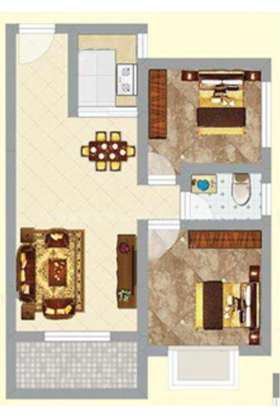 3#2单元01户型 2室2厅1卫1厨 建筑面积:78.89㎡