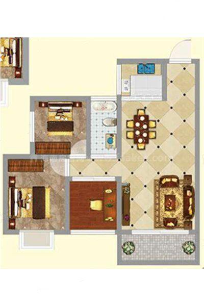 3#2单元02(2+1)户型 2室1厅1卫1厨 建筑面积:85.53㎡