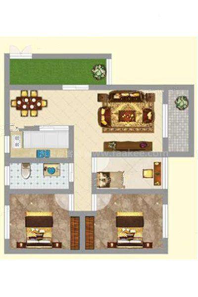 3#2单元03户型 2室1厅1卫1厨 建筑面积:94.96㎡