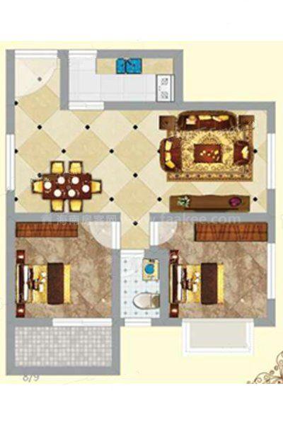 3#2单元06户型 2室2厅1卫1厨 建筑面积:99.39㎡