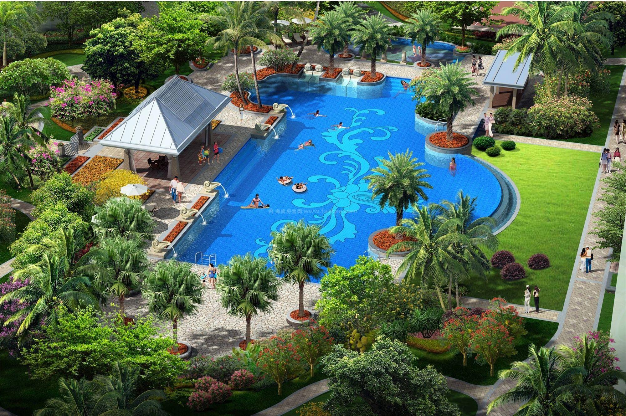 泳池区鸟瞰图