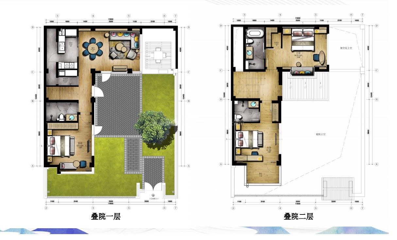 叠院户型 3室2厅3卫 建筑面积:140㎡