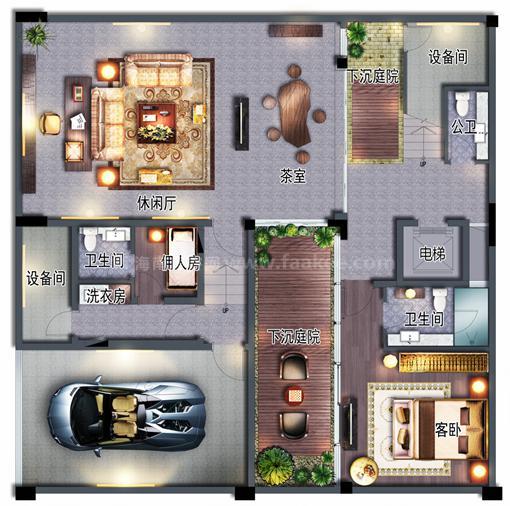 低层办公户型 5房3厅6卫 建筑约124㎡(花园层)