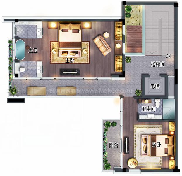 低层办公户型 5房3厅6卫 建筑约124㎡ (主人层)