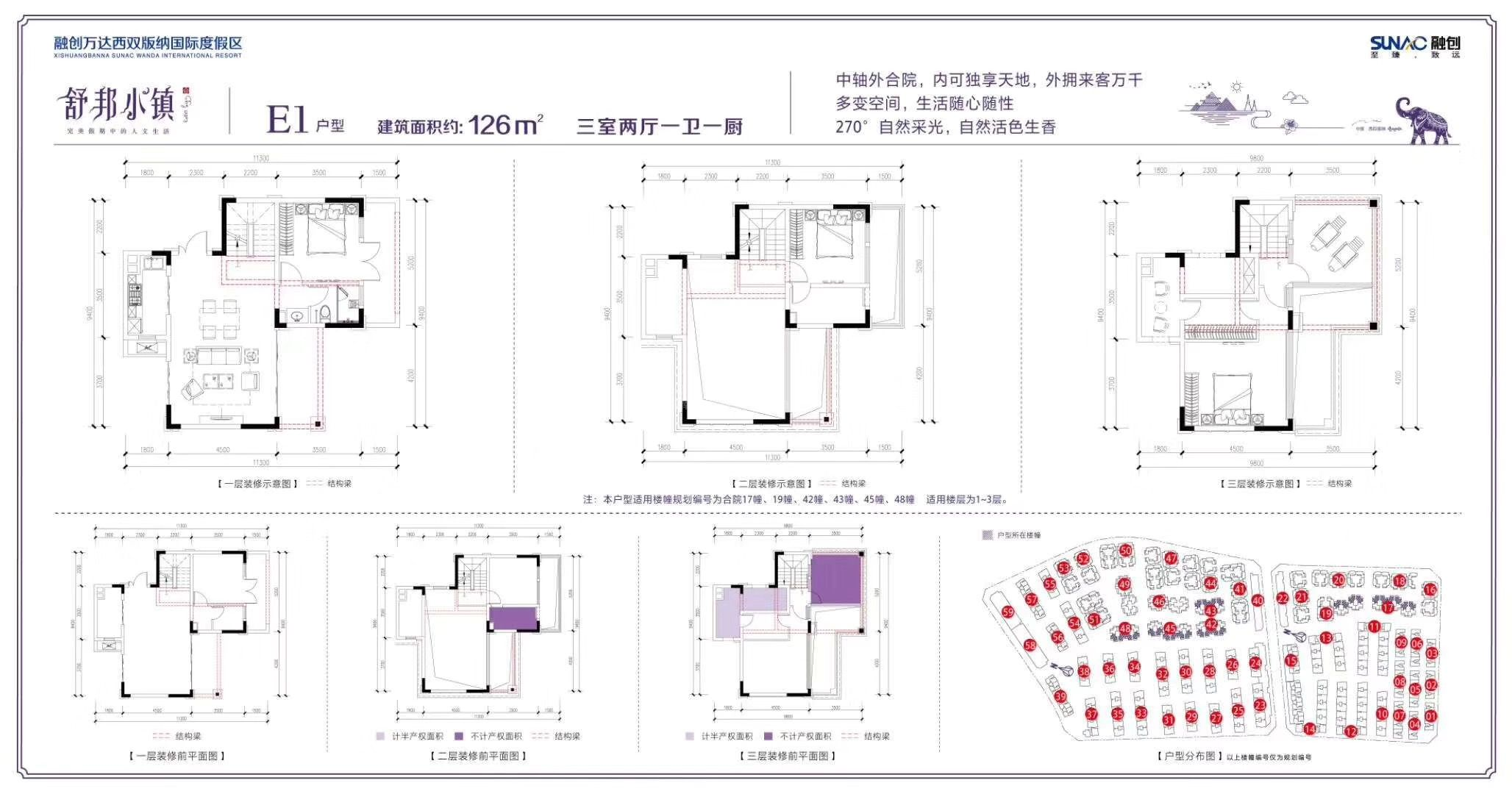E1户型 3室2厅1卫1厨 建筑面积:126㎡