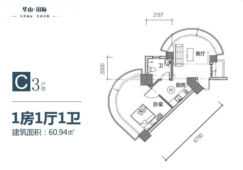 C3户型 1房1厅1厨1卫 60.94㎡