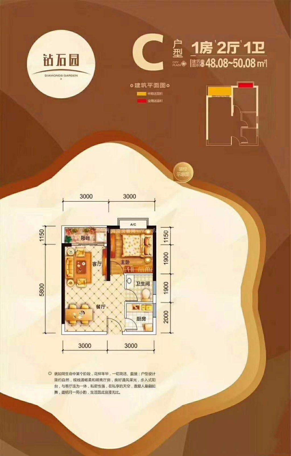 1室2厅1卫1厨 建筑面积48.08㎡