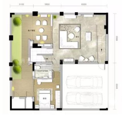 B户型 独栋别墅3室3厅3卫3厨 270㎡