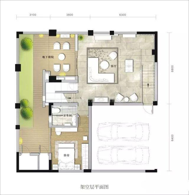 别墅架空层 3室3卫 建面270㎡